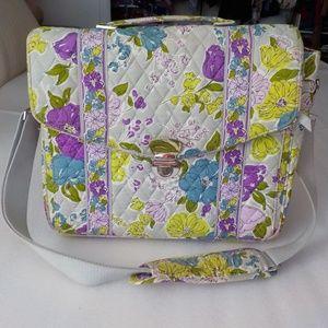 Vera Bradley Gray/Purple/Green Fabric Briefcase